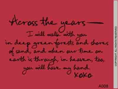 Across The Years – I Will Walk With You in Deep Green - A008