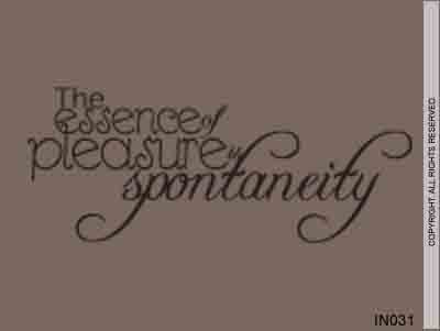 The Essence Of Pleasure Is Spontaneity - IN031