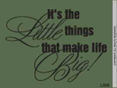 It's The Little Things That Make Life Big! - L005