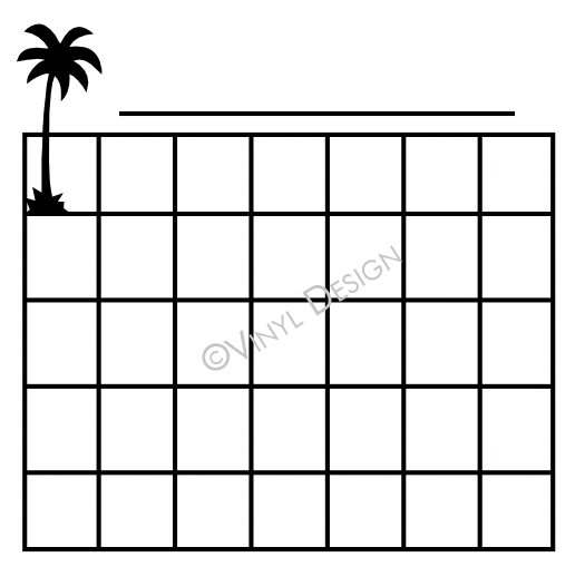 Basic Lines for Monthly Calendar - Palm Tree - VRD-CA006