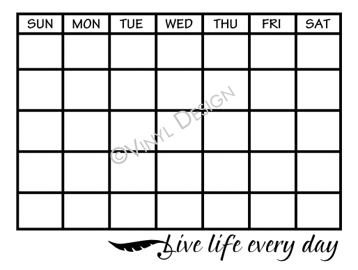 Montly Calendar - Live Life Every Day - VRD-CA010