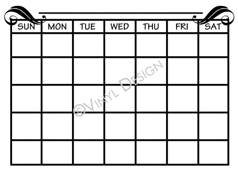 Monthly Calendar with Days of Week - VRD-CA012